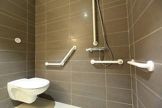 Mobility wetroom - grey tiling