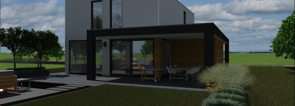 Duurzame villa DGV Group acheraanzicht rechts