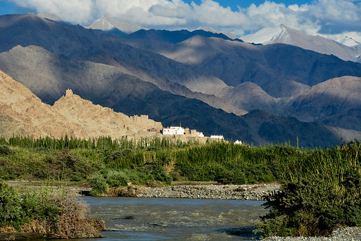 View of Shey Palace from Indus River Camp, Leh, Ladakh