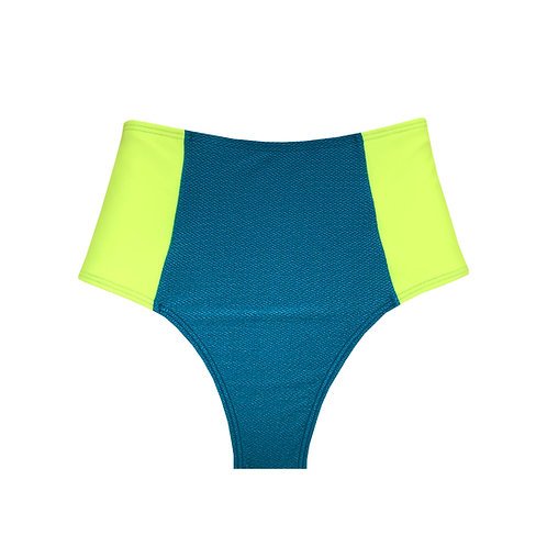 Bottom Hot Pants - Azul Texturizado e Marca Texto NEON
