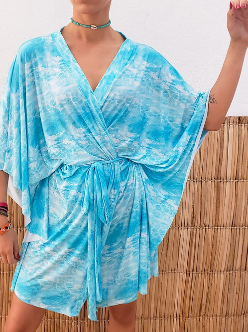 Saída Kimono Estampada - Estampa Mar de Arraial