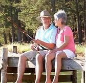 fishing on dock, couple
