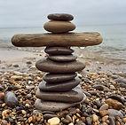 rocks stacked, beach