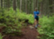 trail running, man, woods