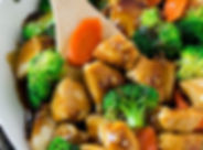 stew, chicken, honey, broccoli, potatoes, gravy