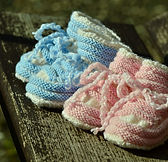 knitted booties, baby booties