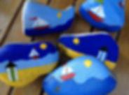 colored rocks, sailboats, blue