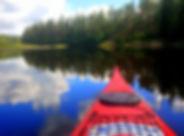 kayak, reflection, lake, trees, clouds