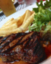 steak, char-broiled, fries, beef