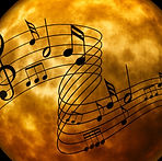 music staff, moon, treble cleff