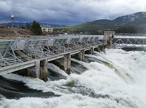 Post Falls dam, water, spillway