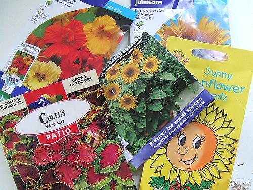 garden seeds, packets