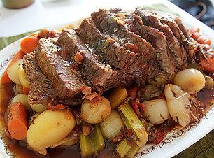pot roast, carrots, potatoes