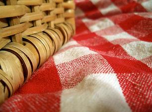 potlucfood, picnic, basket, tablecloth,