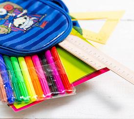 backpack, school, ruler, markers