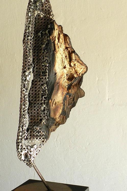 Sculpture métal et bois. Pièce unique. Claudine Borsotti