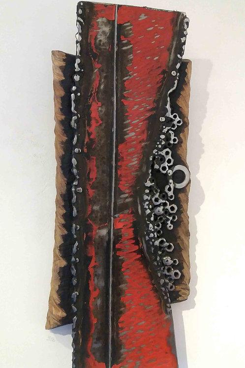 Tableau en rouge/noir/argent