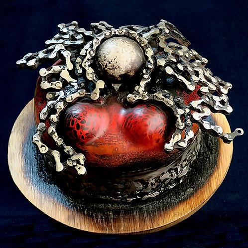 Sculpture métal & bois calciné.Boule céramique.