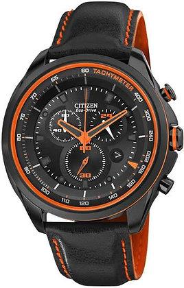 Citizen Watch Strap Black Leather with Orange Stitching  22MM Part # 59-S52717