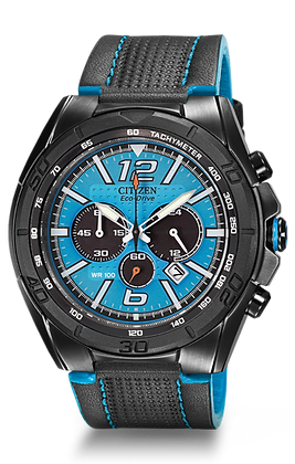 Citizen Watch Strap Black w/ Blue Accent Leather Part # 59-S52928