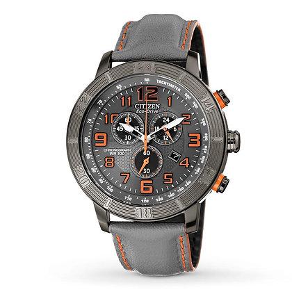 Citizen Watch Strap Grey Leather Orange Accent Part # 59-S52713