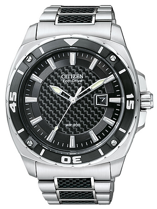 Citizen Watch Silver Tone SS With Black Resin Inserts Part # 59-S04754