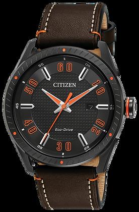 Citizen Watch Strap Brwn Leather W/ Wht Stitching & Orng Accent Part# 59-S53618