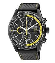 Citizen Watch Strap Black Leather W/ Yellow Stitching Part # 59-S52642
