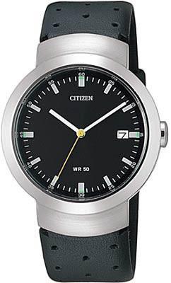 Citizen Watch Strap Black Leather 16 MM W/Cut Out Part # 59-S0151