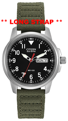 Citizen Watch Strap Green Cloth 18 MM LONG Part # 59-S50146L