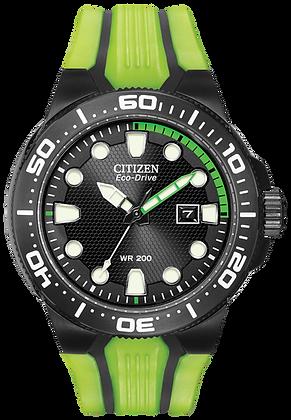 Citizen Watch Strap Green/Black Polyurethane Part # 59-S52818