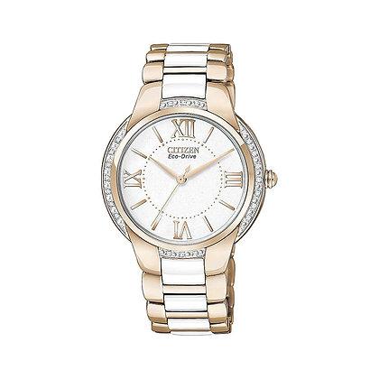 Citizen Watch Bracelet Rose Gold Tone w/ White Ceramic Part # 59-S05259