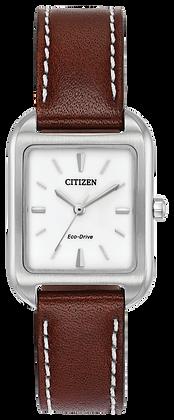 Citizen Watch Strap Dark Brown Leather Part # 59-S53641