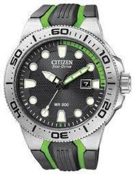 Citizen Watch Band Black Green Rubber Part 59 S52813