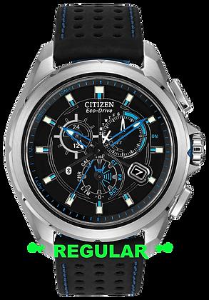Citizen Watch Band  Black Leather / Blue Nylon 22MM Part # 59-S52492