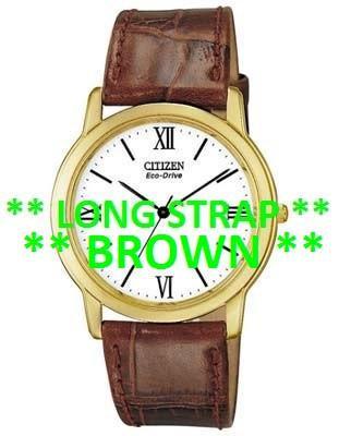 Citizen Watch Strap Brown Crocodile Leather 19 MM LONG Part # 59-S50413LS