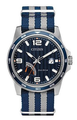 Citizen Watch Strap Nylon Blue and Light Grey Part # 59-S53634