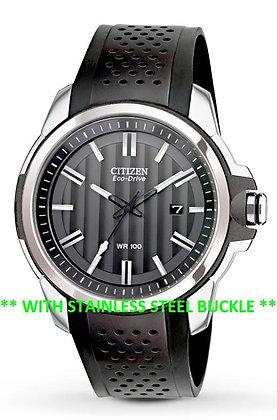 Citizen Watch Band Black Polyurethane W/ Silver Buckle Part # 59-S52587