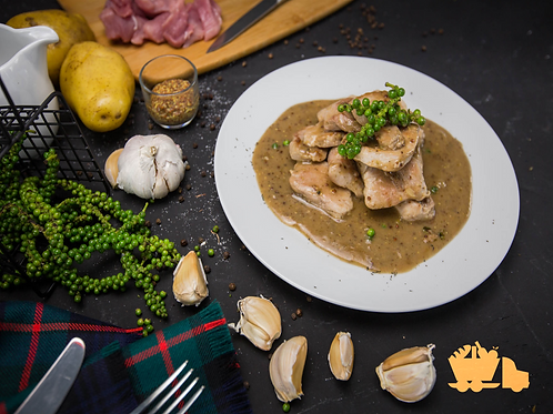 เนื้อหมูปรุงพิเศษในซอสพริกไทยอ่อน และมัสตาร์ดบดหยาบ