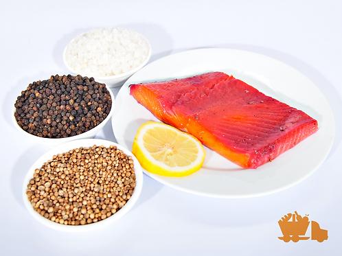 Beetroot & Coriander Cured Coho Salmon