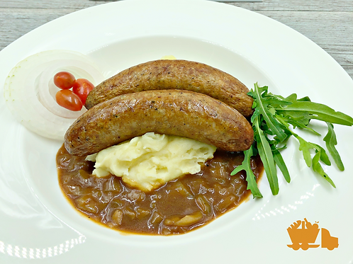 Cumberland Sausages with Mash & Onion Gravy