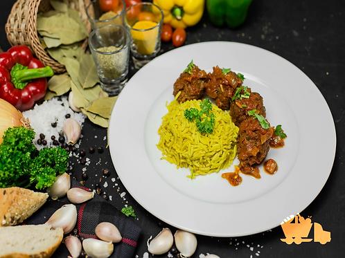 Kefta Tagine - Moroccan Meatballs with Saffron Rice
