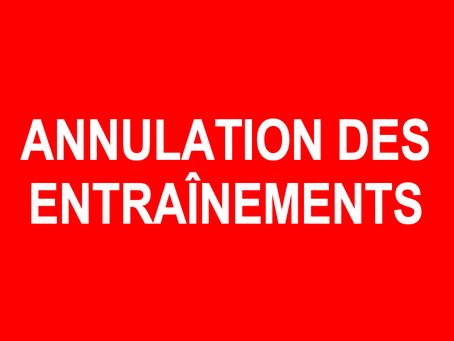 ANNULATION ENTRAINEMENTS DU MARDI 22 JANVIER