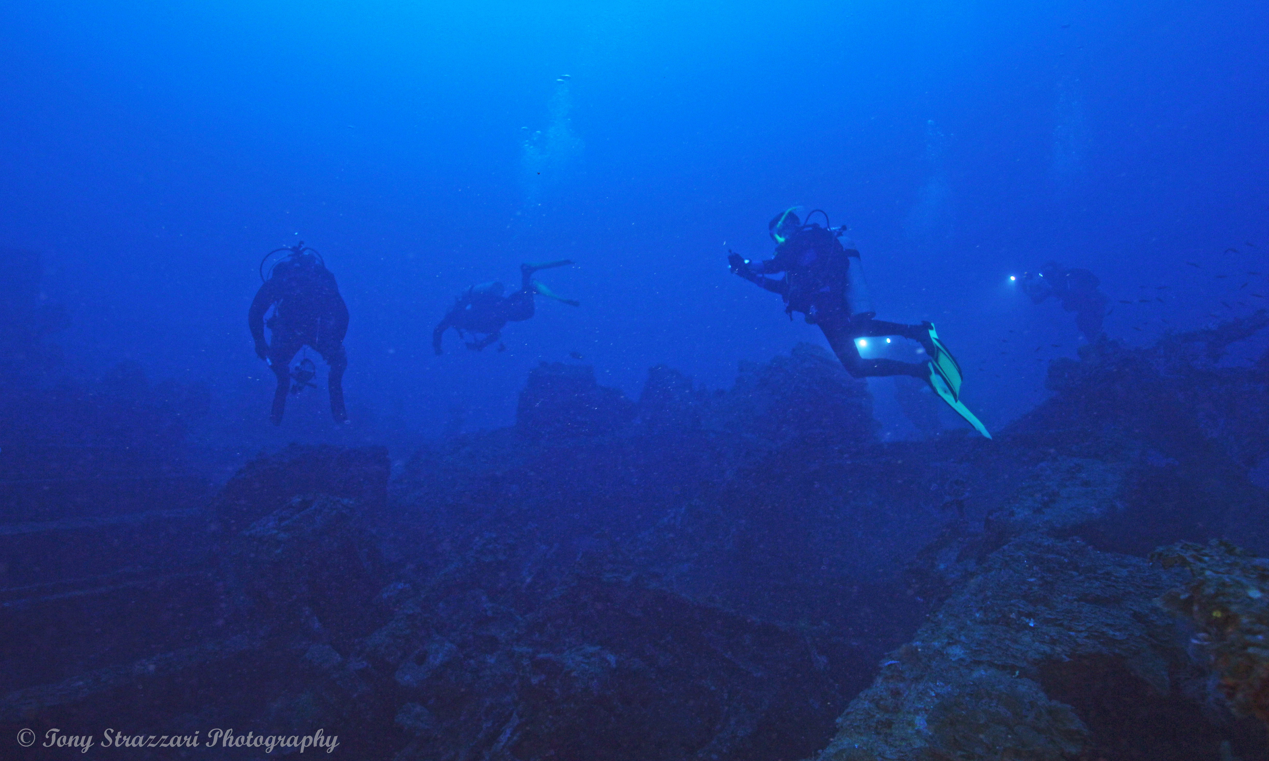 Divers on the wreck