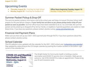 Announcements & Events: August 10, 2021