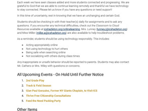 ICS Announcements & Events: March 31, 2020