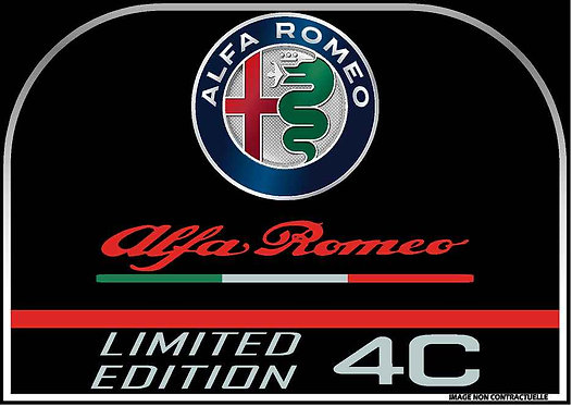 Sticker console centrale alfa 4c en contour chrome et doming 78x55