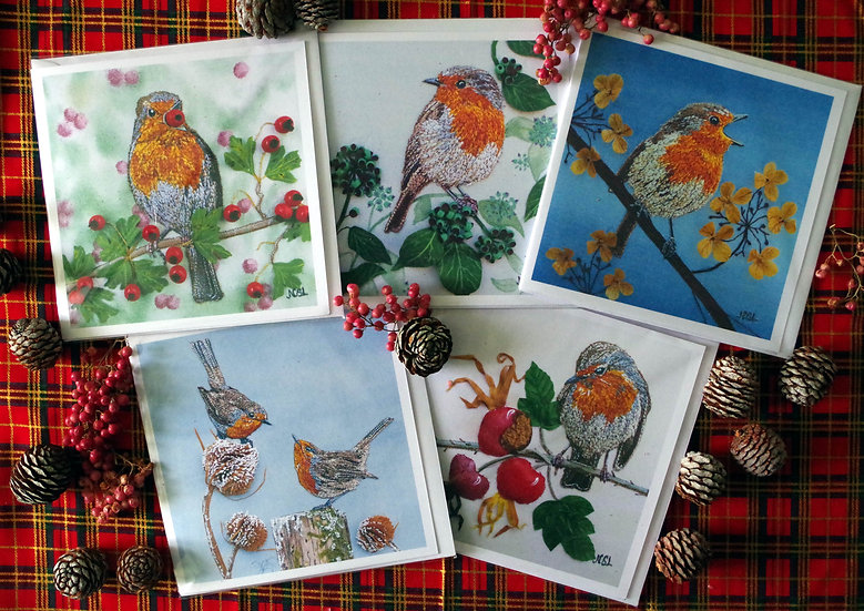 Pack Of 5 Robin Christmas Cards