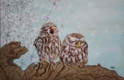 Sleepy Little Owls (SOLD)
