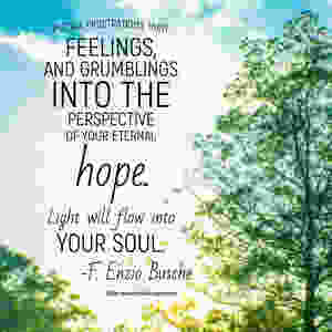 Put all frustrations, hurt feelings, and grumblings into the perspective of your eternal hope. Light will flow into your soul. F Enzio Busche BYUdevo